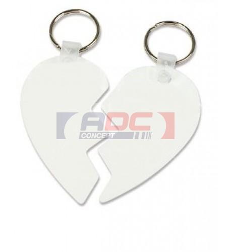 Porte-clé blanc en aluminium coeur 2 pièces 80 x 69 mm