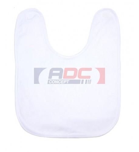 Bavoir éponge 100% polyester blanc bébé bordure blanche 28 x 35 cm (vendu à l'unité)