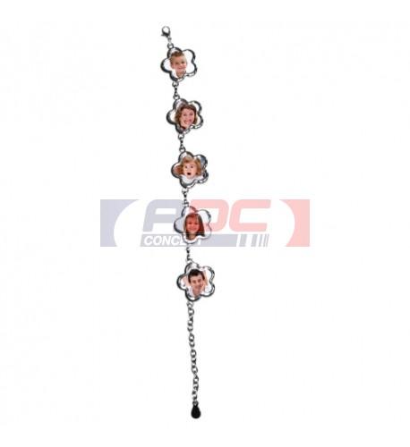 Bracelet en argent métal brillant 5 fleurs