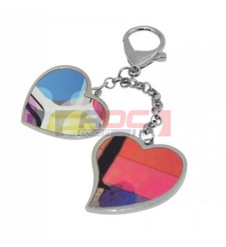 Bijou de sac 2 pendentifs coeurs avec mousqueton argenté (vendu à l'unité)