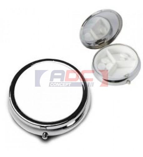 Boite à pilules ronde en métal argenté Ø 50 mm (vendu à l'unité)