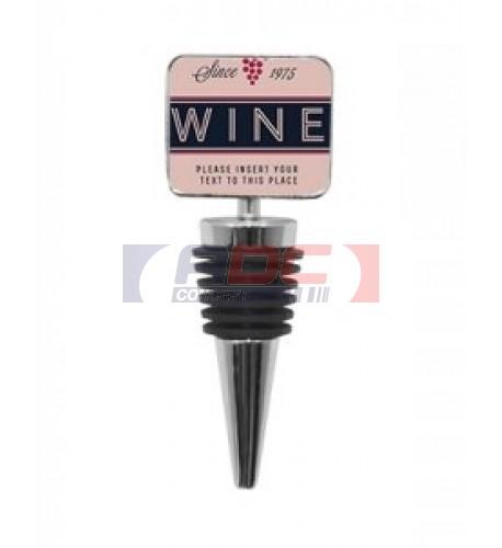 Bouchon pour bouteille de vin avec plaque alu rectangulaire