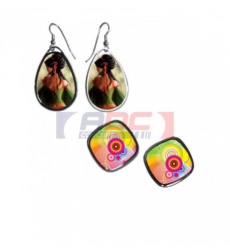 Boucles d'oreilles fantaisie en métal brillant