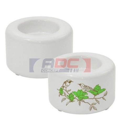Bougeoir blanc en céramique Ø 80 mm - H 50mm et 100 mm