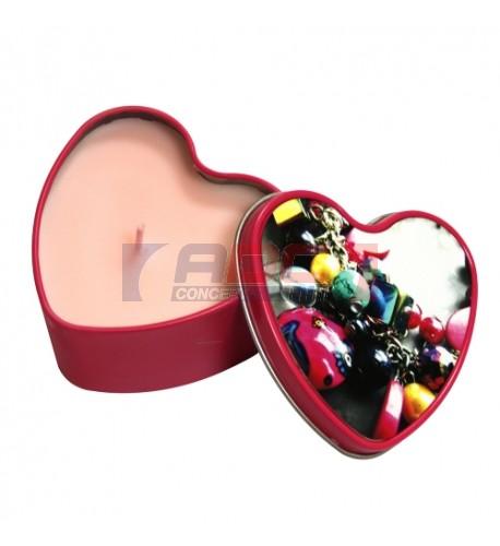 Boite en aluminium coeur fushia avec bougie parfumée (vendu à l'unité)