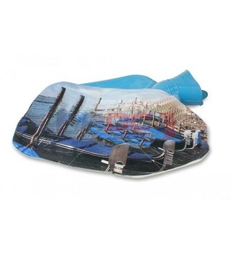 Bouillotte bleue avec pochette imprimable en sublimation