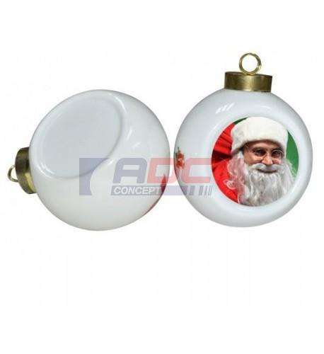 Boule de Noël Ø6,5 cm coloris blanc à suspendre avec plaque sublimable (vendu à l'unité)