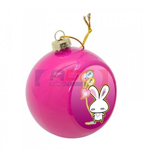 Boule de Noël Ø 8 cm coloris rose à suspendre avec plaque sublimable (vendu à l'unité)