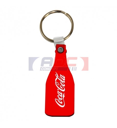 Porte-clé en MDF blanc brillant format bouteille