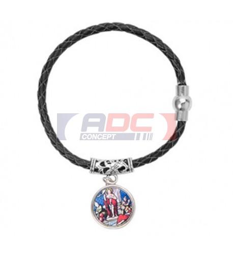 Bracelet tressé en cuir noir avec pendentif et plaque alu Ø 18 mm (vendu à l'unité)