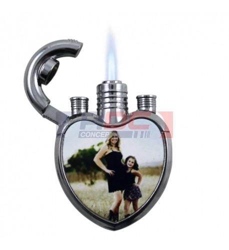 Briquet à gaz tempête format coeur (vendu à l'unité)