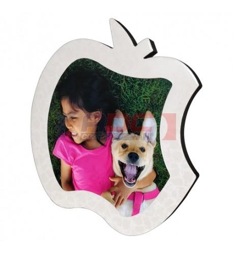 Cadre photo en MDF forme pomme 22,5 x 23 cm légèrement bombé effet cristal