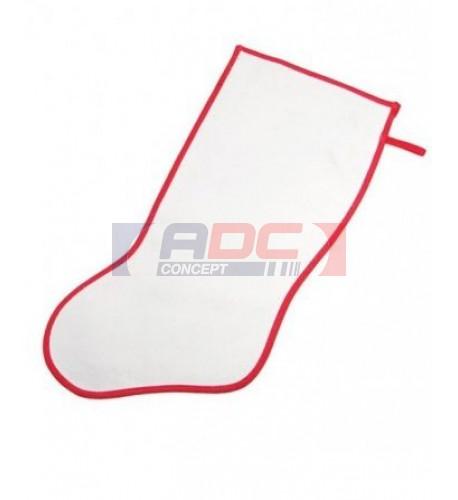 Chaussette de Noël blanche bordure rouge pour décoration (vendu à l'unité)