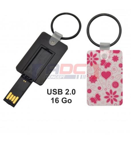 Clé USB 16 Go avec porte-clé et plaque MDF blanche brillante pour sublimation