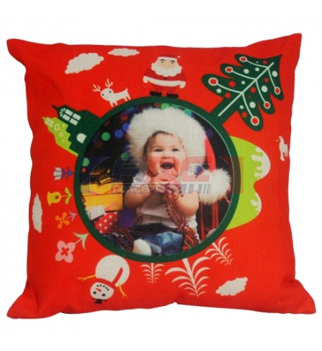 Housse de coussin de Noël rouge 45 x 45 cm pour sublimation (vendu à l'unité)