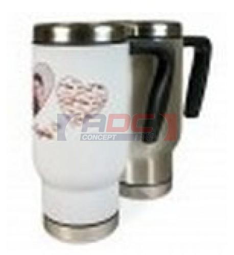 Gobelet thermos en inox blanc avec couvercle