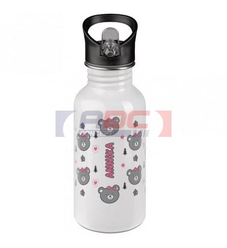 Gourde inox blanc 500 ml avec bec pliable et paille intégrée (vendu à l'unité)