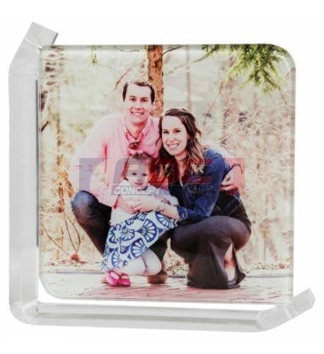 Cadre photo en verre lisse support transparent 12,5 x 12,5 cm