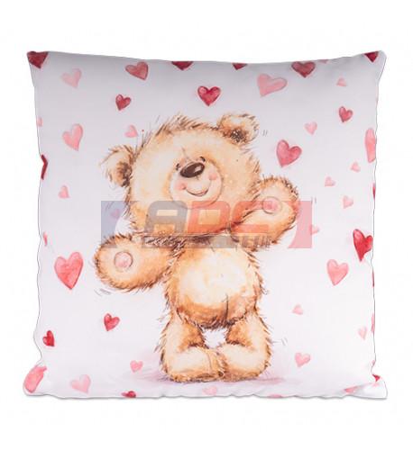 Housse de coussin carrée imprimée de l'ours Teddy 40 x 40 cm sublimable 1 face (vendu à l'unité)