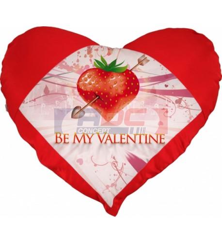 Housse de coussin coeur rouge 42 x 38 cm toucher très doux (vendu à l'unité)