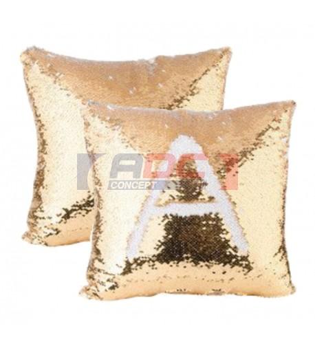 Housse de coussin or 40 x 40 cm à sequins pour sublimation (vendu par 2 pièces)