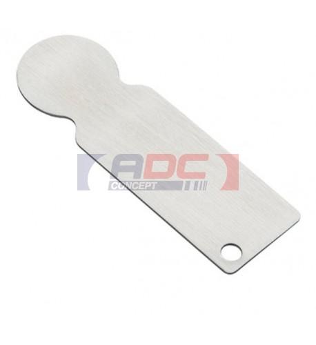 Porte-clé jeton de caddie en métal argenté 2,3 x 7,4 cm