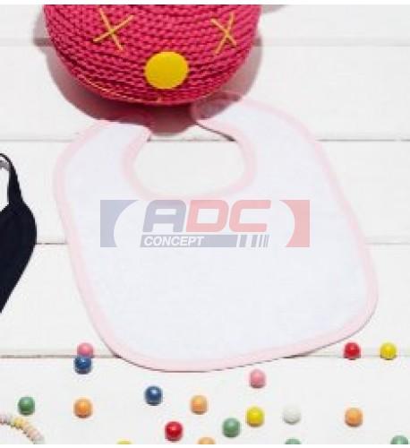 Bavoir éponge blanc pour bébé avec bordure couleur K833 29 x 22 cm (vendu à l'unité)