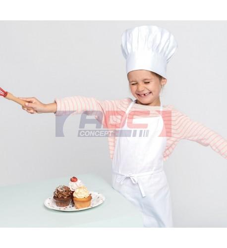 Kit chef de cuisine enfant avec tablier et toque 100% coton (vendu à l'unité)
