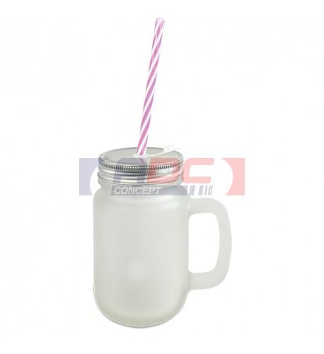 Tasse Mason Jar en verre extérieur satiné avec anse, couvercle et paille (vendu à l'unité)