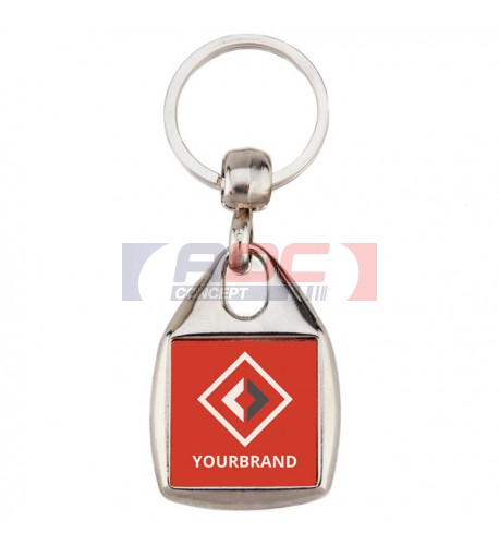 "Lot de 100 porte-clés métalliques ""MF-25 D"" carré 2 faces"