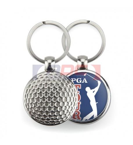 """Lot de 100 porte-clés métalliques Ø 30 mm """"MGF"""" Golf"""
