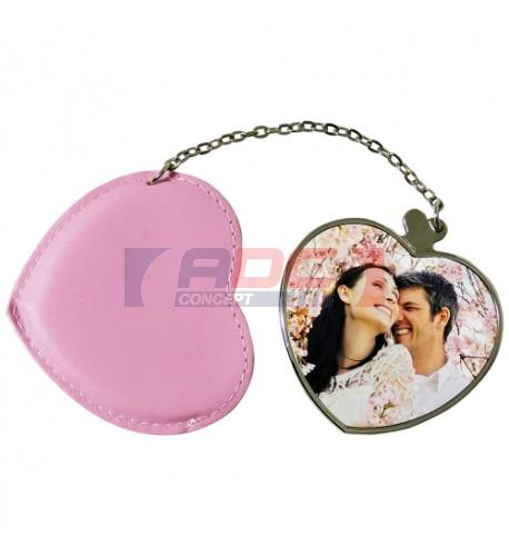Miroir coeur avec étui rose personnalisable en sublimation (vendu à l'unité)
