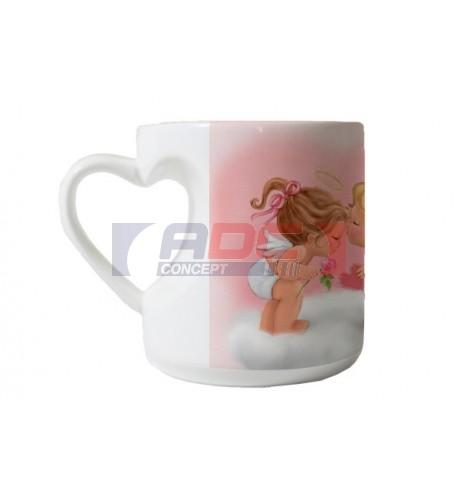 Mug anse cœur H 9,3 cm - Ø 8,7 cm