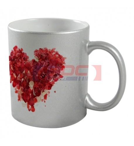Mug coloris argent effet pailleté pour sublimation ou marquage laser