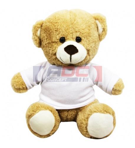 Peluche Ours brun clair H 18 cm avec mini tee-shirt pour sublimation (vendu à l'unité)