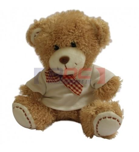 Peluche ours brun avec mini tee-shirt (vendu à l'unité)