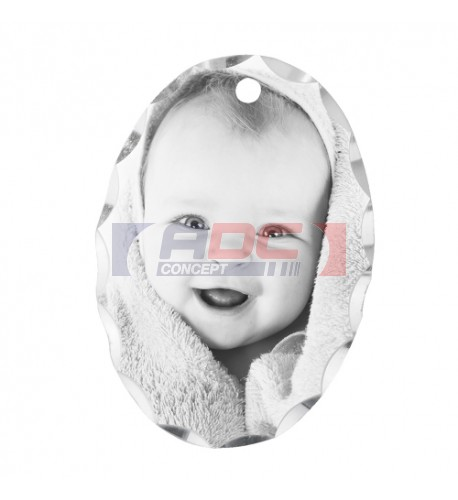 Pendentif aluminium Unisub forme ovale 1,6 x 2,2 cm bord festonné
