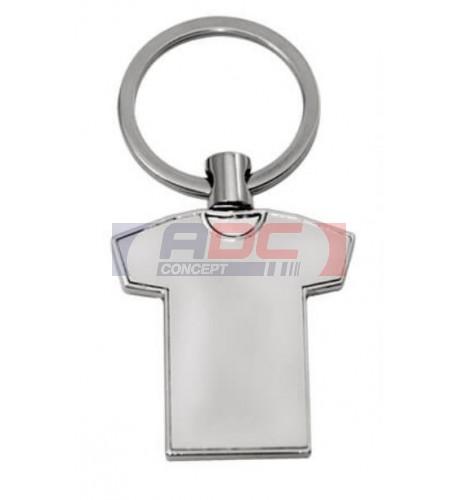 Porte-clé en métal argenté tee-shirt 3,5 x 4 cm - Marquage 1 face (vendu à l'unité)