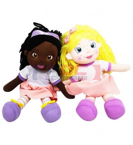Peluche poupée avec robe sublimable H 35 cm - 2 coloris