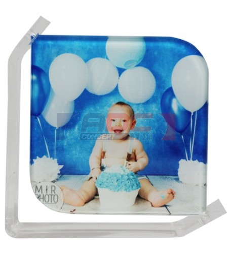 Cadre photo en verre lisse support transparent 15 x 15 cm
