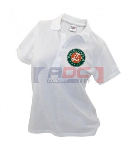Polo femme blanc à manches courtes 230 gr/m² - 4 tailles : S, M, L, XL