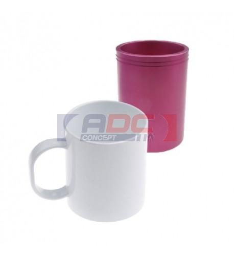 Mug polymère blanc brillant Ø 8,2 cm H 9,5 cm (vendu à l'unité)