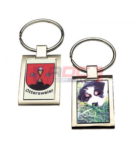 Porte-clé métal 1 ou 2 face mat ou brillant
