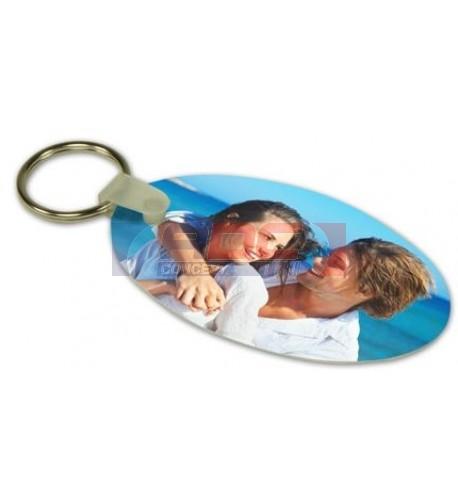 Porte-clé aluminium blanc brillant ovale 3,4 x 6,3 cm (vendu à l'unité)