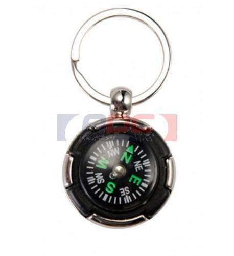 Porte-clé avec boussole intégrée et plaque aluminium Ø 32 mm (vendu à l'unité)