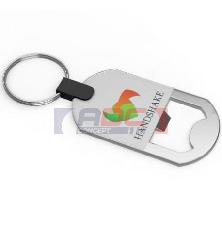 Porte-clé décapsuleur en métal argent avec marquage doming 1 face