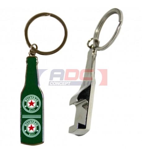Porte-clé décapsuleur forme bouteille en métal avec plaque sublimable