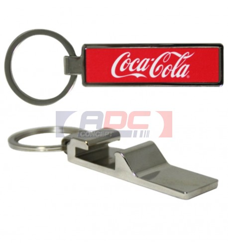 Porte-clé décapsuleur rectangulaire en métal avec plaque sublimable