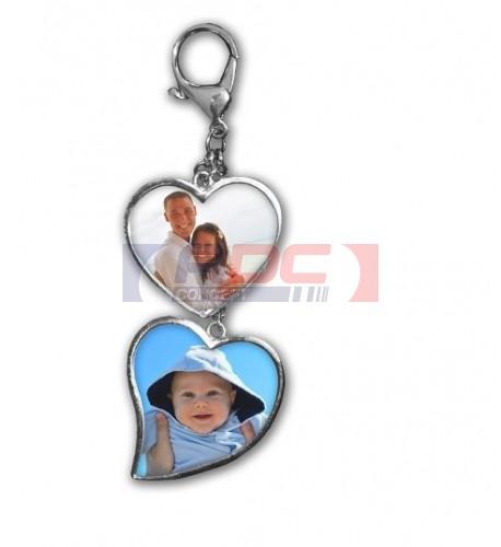 Porte-clé double coeur en argent métal