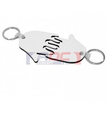 Porte-clé en MDF blanc brillant 2 mains